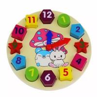 1St Wooden Blocks Toys Digital Geometry Clock Children's Educational