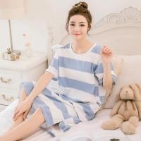 Baju Tidur Daster Piyama Fashion Wanita Kaos Salur Stripe Biru Putih