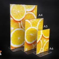 Acrylic Tent Holder / Tempat Brosur Akrilik / Nomor Meja ukuran A5