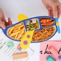 Tempat Makan Set Anak Lengkap Sendok Garpu Design Pesawat Lucu Unik