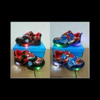 Sepatu lampu anak led shoes karakter spiderman impor murah promo lucu