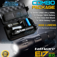 PAKET Senter LED Tactical CREE XM-L2 8000L Aluminium 5 MODE Kedip