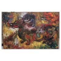 lukisan Abstrak Ekspresionis Oil on canvas Babi Hutan ukuran besar