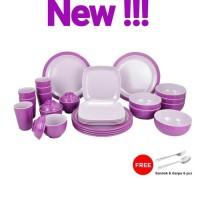 Set melamin golden dragon ekonomis New Purple series Ungu kombi pink