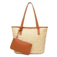 tas coklat muda anyam hand shoulder bag casual santai wanita piknik