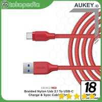 Aukey CB-AC2 Braided Nylon USB 3.1 Gen 1 to USB C Cable - Red -H371