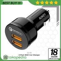 Aukey CC-T8 36W USB Car Charger with Quick Charge 3.0 - Hitam [ -H402