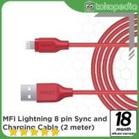 Aukey CB-AL2 Braided Nylon Lightning Cable 2 m - Red -H377