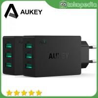 Aukey Charger USB 3 Port EU Plug - PA-U35 - 3 Port-Hitam -H408