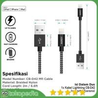 Aukey CB-D42 Lightning Cable 2 METER Braided Nylon Apple MFi Ce -H395