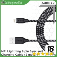 Aukey CB-AL2 Braided Nylon Lightning Cable 2 m - Black -H376
