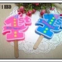 "Angka 1""1st"" HBD Lilin2-biru dan pink"