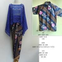 couple batik cape brokat biru