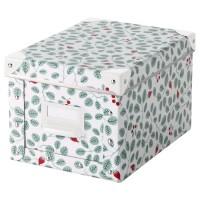 ikea FJÄLLA Kotak penyimpanan dengan penutup, putih, hijau