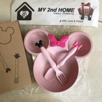 Mangkok Piring Sendok Garpu Mickey Minnie