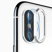 TOTU Camera Lens Tempered Glass Protector for iPhone X - Silver
