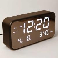 Jam Alarm Digital w/ Sensor Temp Calender Mirror - 8801 - Hitam