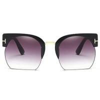 Kacamata Vintage Wanita Semi Rimless Fashion Sunglasses - Gray