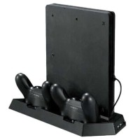 PS4 Slim Dual Fan Stand and Gamepad Charging Docking w/ 3 USB Port