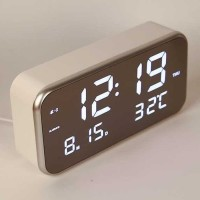 Jam Alarm Digital w/ Sensor Temp Calender Mirror - 8801 - Putih