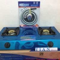 GMC BM-012 Kompor Gas 2 Tungku Stainless (selang & Regulator)