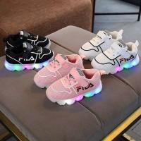 Sepatu Sneakers Anak Fila LED Lampu Sport Shoes Size 26-30 Bayi