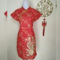 Dress Cheongsam Imlek Perempuan Katun