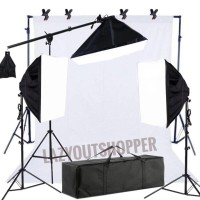 Paket lighting studio softbox 4 socket - Putih