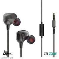 Auglamour F100 Dynamic In Ear Earphone HiFi Metal With Mic - Black