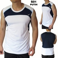 KUALITAS SUPER Singlet Cowok Training Fitnes NK S01 Putih OZZ