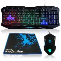 murah Termurah Keyboard Mouse Gaming Rexus Warfaction Vr1 Backlight