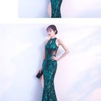 Elegant Green Evening Party Sleeveless Long Dress