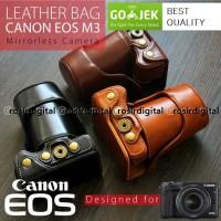 Leather Case Canon M3 kit 15-45mm bag tas sarung kulit M 3 halfcase