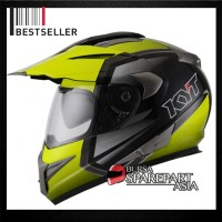 Helm KYT Enduro Supermoto Black Yellow Fluo Full Face Cross Motif #1