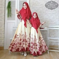Gamis Syari Couple Mom and Girl Kanaya Maroon