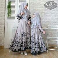 Gamis Syari Couple Mom and Girl Kanaya Grey