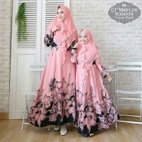 Gamis Syari Couple Mom and Girl Kanaya Peach