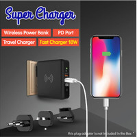 Super Charger Wireless Adapter Powerbank 8000mAh Fast Charging 10W 18W
