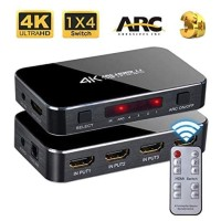 HDMI Switch 4 Port with Audio Optical ARC UltraHD 4K/2K with IR Remote