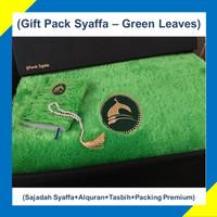 Paket Hadiah/Kado Sajadah Premium Syaffa Bulu Rasfur Busa Green Leaves