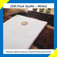 Paket Hadiah/Kado Sajadah Premium Syaffa Bulu Rasfur Busa - White