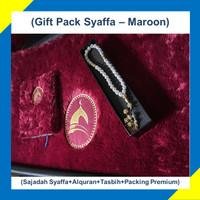 Paket Hadiah/Kado Sajadah Premium Syaffa Bulu Rasfur Busa - Maroon