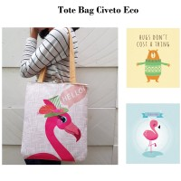 TC43 Civeto Eco Printed Canvas Tote Bag / Tas Bahu Pundak Shoulder