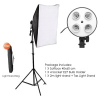Photo Studio Softbox KIT - Light Stand - 4 Socket E27 Softbox 50x70