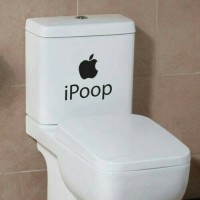 Decal Stiker Sticker Toilet WC Kamar mandi (ipoop poop apple)