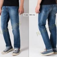 Celana jeans panjang pria basic standar / denim cowok regular premium