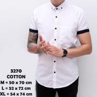 Harga baju kemeja lengan pendek casual formal pria putih polos | Pembandingharga.com