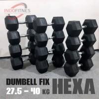 [1 SET] Dumbell Fix Hex Rubber Set | Barbel Hexa Karet Dumbel