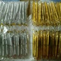 Souvenir Pernikahan Pulpen Emas & Silver Kemasan Plastik Kawat