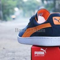 Ready Sepatu Puma Suede Classic Import   Navy Orange   Casual Kets 73c4991e6e